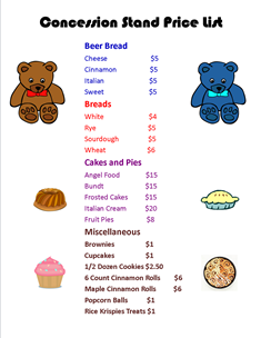 Concession Stand Price List