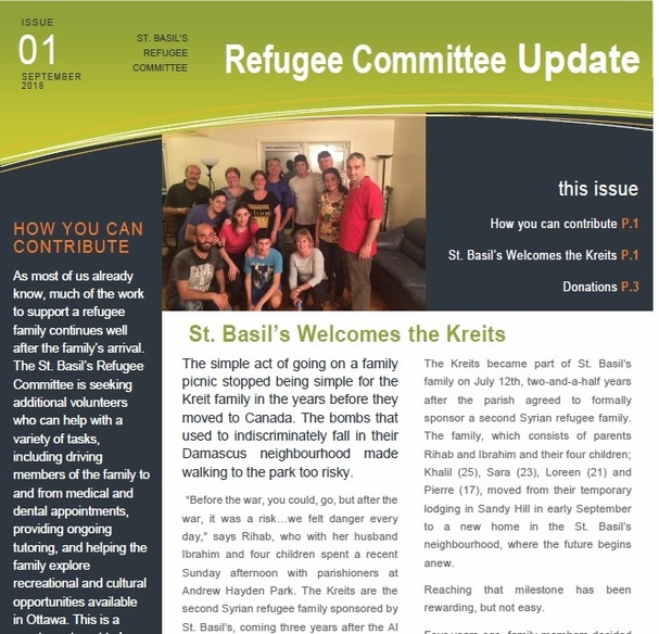 Click to link to our Refugee Committee Update