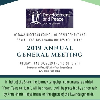 Development and Peace - Caritas Canada invites you to the 2019 Annual General Meeting