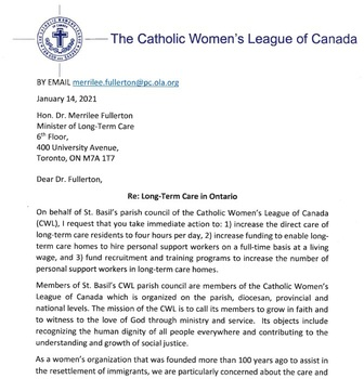 CWL Letter to the Province on Long-Term Care in Ontario