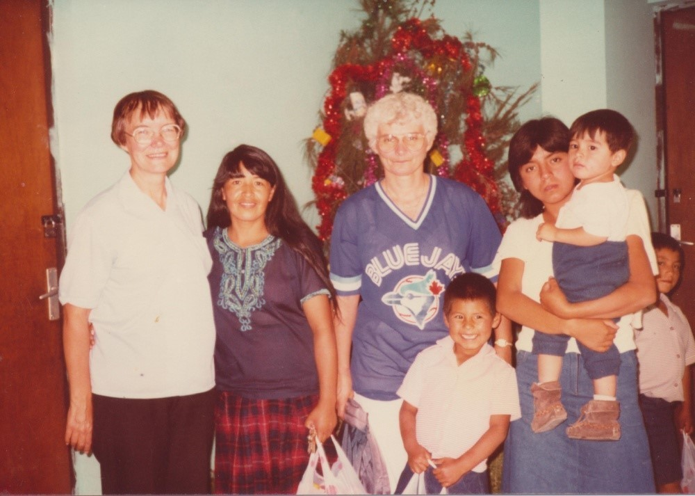 Sr. Margaret Cushman (left) & Sr. Carolyn Schan (Centre) at the Orphanage in Cochabamba, Bolivia 1988-1989