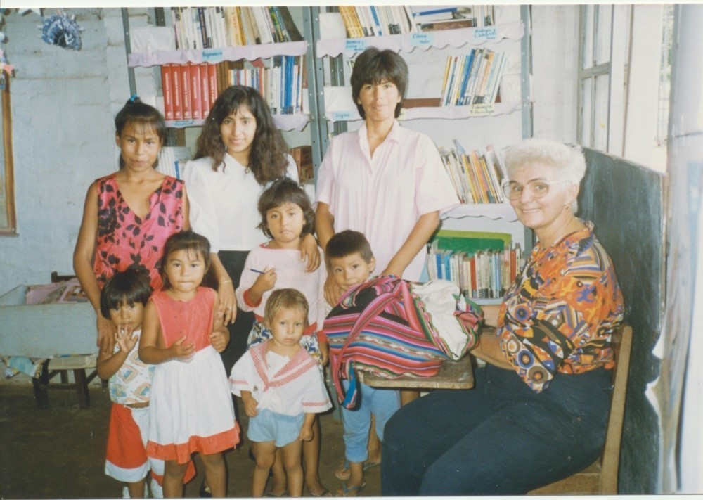 Sr. Carolyn Schan at the MCC Library in Cochabamba, Bolivia, 1989 - 1994