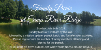 RC Family Picnic with Sunday Mass at Camp River Ridge