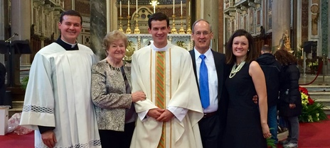 Br. Christopher Gronotte, LC with his brother, Fr. Andrew Gronotte, LC, and his mother, father (died Dec 27, 2017) and sister, Elizabeth