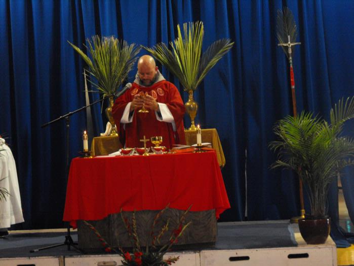 Fr. Joseph during Mass on Palm Sunday 2011