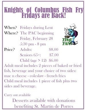 St. Joseph Fish Frys begin Friday, February 28