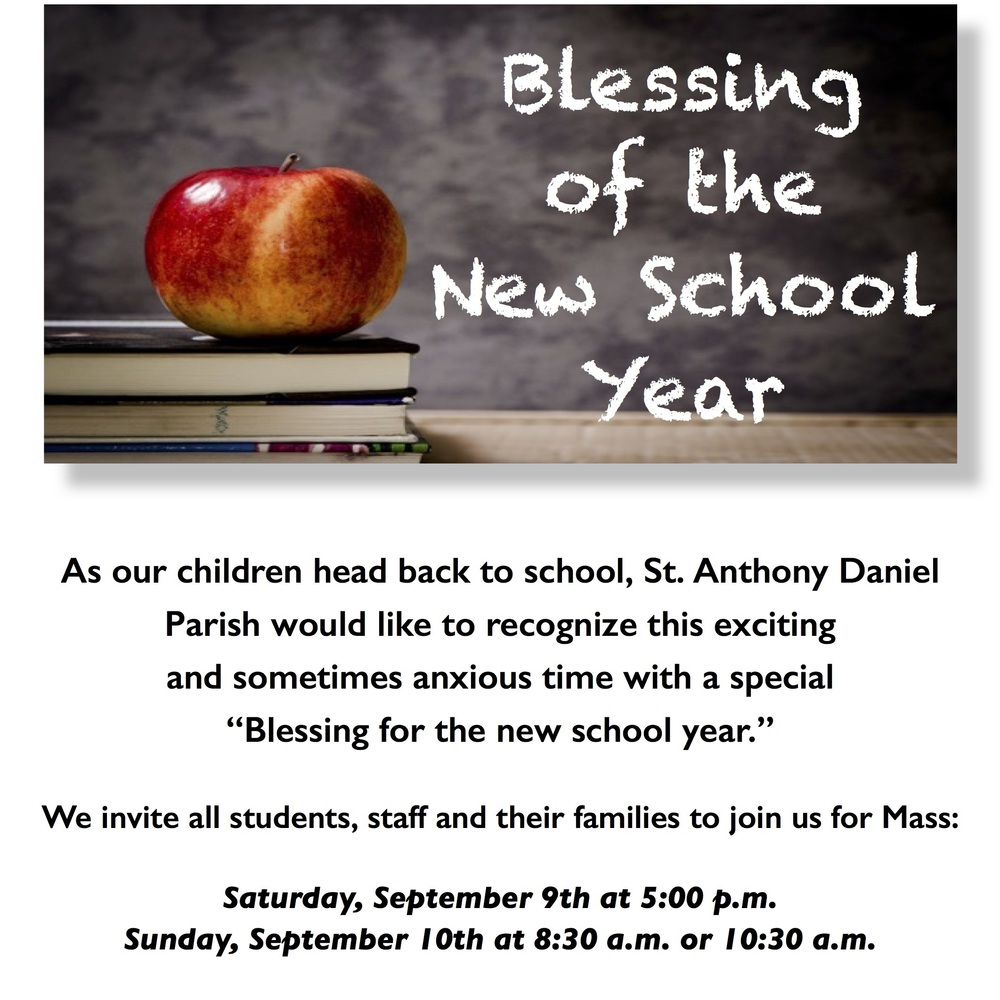 Blessing of the New School year :: St. Anthony Daniel Parish ...