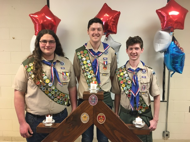 Noah, Noah and Garrett have been in scouts since they started school together at St. John Paul II.  They all have received their Eagle Scout Status through boy scouts with the support of each other and their families.