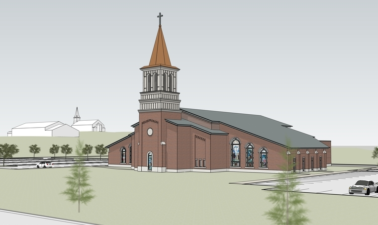 Architect's Renderings of New Church & Furnishings