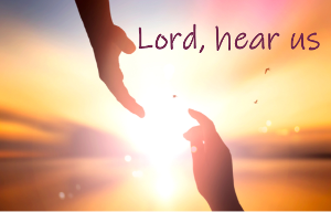 Lord, hear us text on image of hand reaching us to His hand with a sunrise in the background
