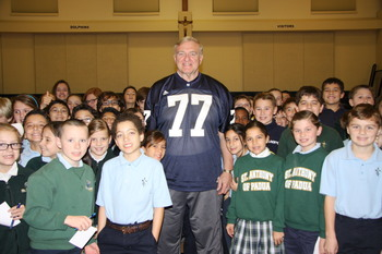 St. Anthony of Padua students get a visit from a legend
