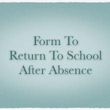 Form to Return to School After Absence