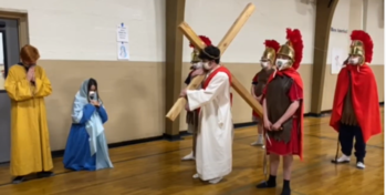 8th Grade Class Presents Living Stations