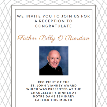 Parish Reception for Fr. Billy, Recipient of St. John Vianney Award