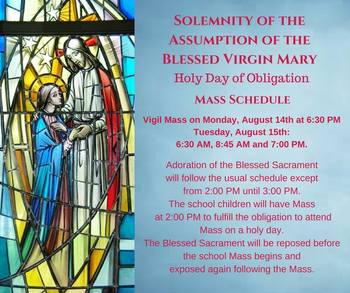 Vigil Mass for The Assumption of the Blessed Virgin Mary (HOLY DAY OF OBLIGATION)