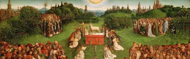 Adoration of the Mystic Lamb by Jan van Eyck 1432 Cropped Image from the Central Panel from the Ghent Altarpiece
