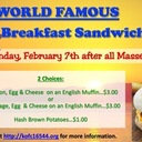 Knights of Columbus Take out Breakfast Sandwiches