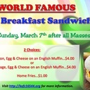 K of C Breakfast Sandwiches - March 7 after Sunday Masses