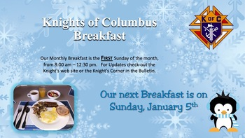 Knights of Columbus January Breakfast Fundraiser