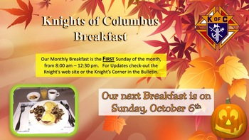 Knight's of Columbus October Breakfast Fundraiser