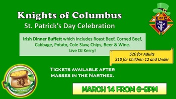 CANCELLED ~ Knights of Columbus St. Patrick's Day Celebration