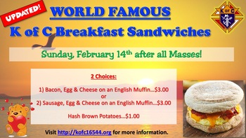 Knights of Columbus Take Out Breakfast Sandwiches - February 14 2021