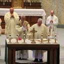 Bishop Hying celebrates Mass here