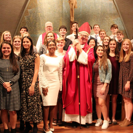 Bishop Hying and Confirmation teens, Fall 2019