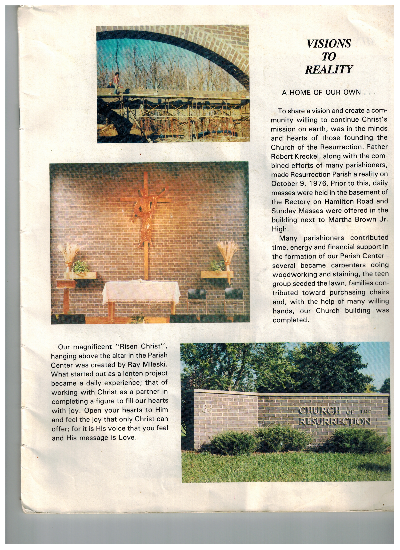 first page of Resurrectin's first parish directory