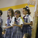 Third Graders Lead School-Wide Living Rosary