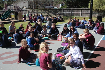 Students Celebrate Mardi Gras with Saints Families' Picnic!
