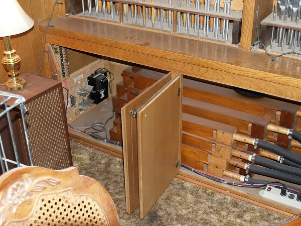 The Flutes installed in the cabinet under the left pipes.