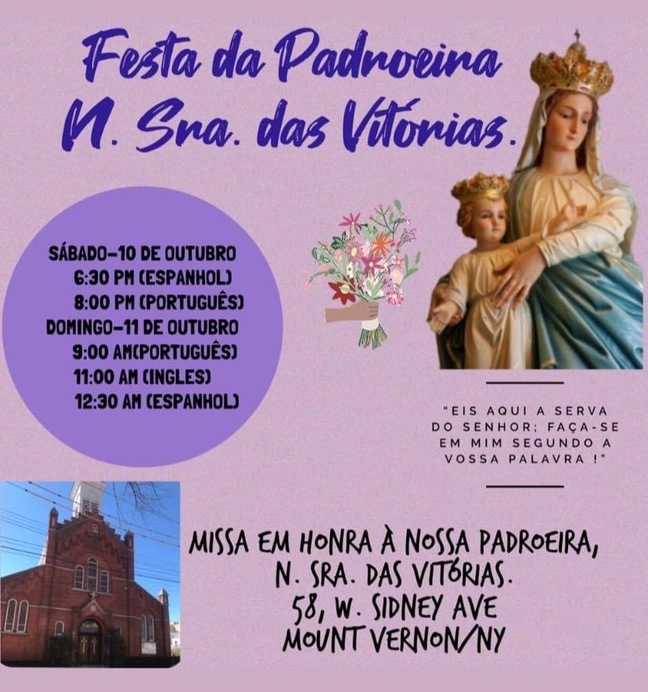 Mass in honor of Our Lady of Victory will be celebrated on Sunday 11am in English