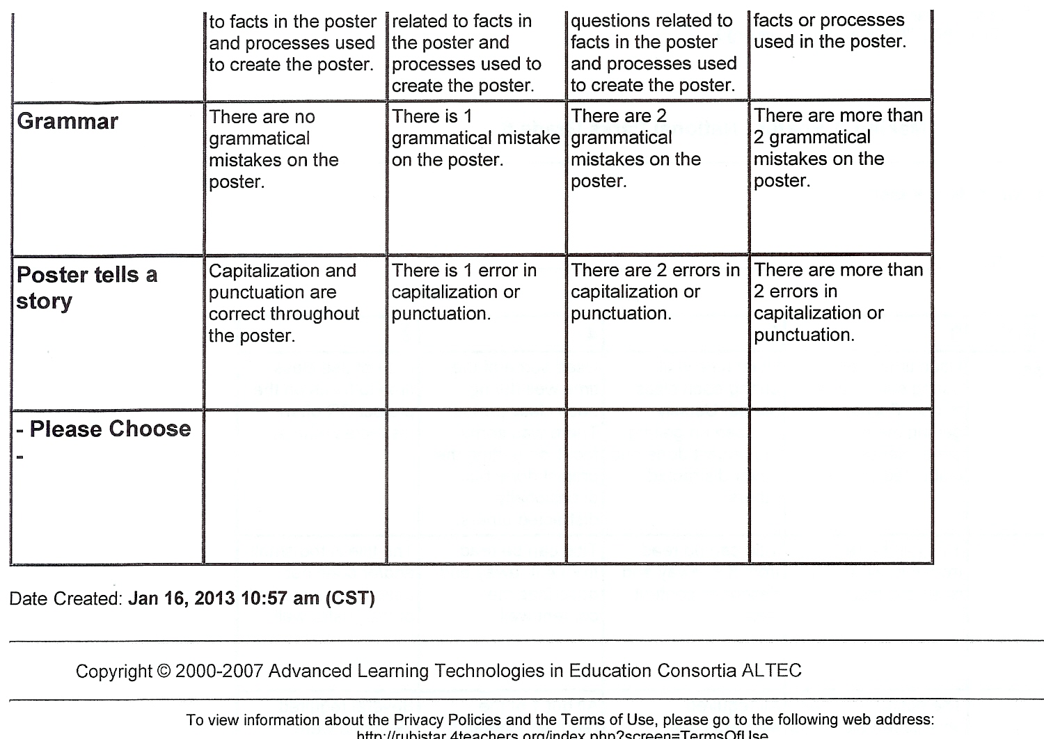 rubric for research paper fifth grade