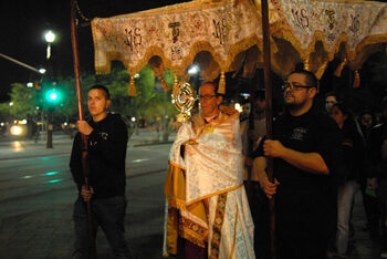 Eucharistic Procession of fathers, families through downtown Phoenix
