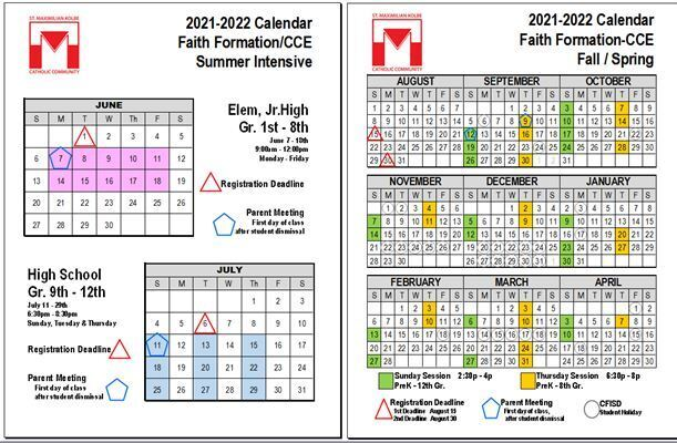 Calendar for 2021 Summer CCE Classes