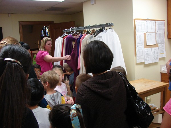 Visiting the Sacristy and learning about the vestments