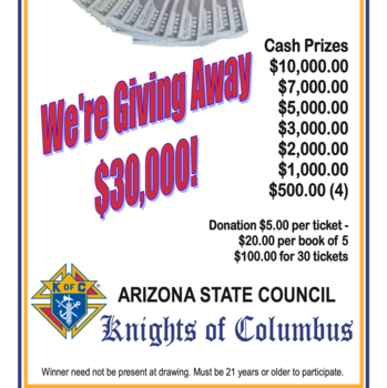 The Knights of Columbus Selling Raffle tickets after Mass