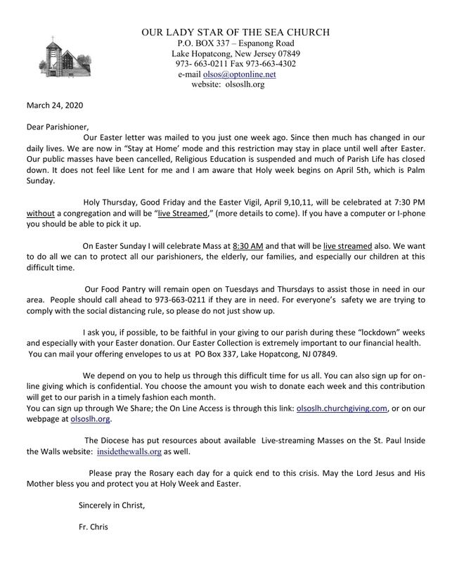 Letter from our Pastor