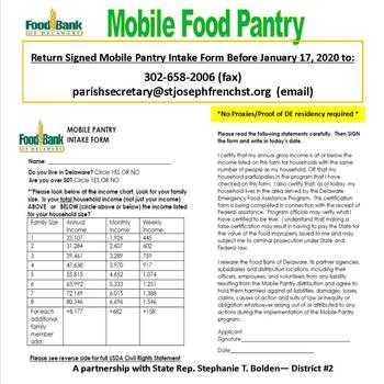 Mobile Food Pantry - Monday, January 20, 2020, 11:00am