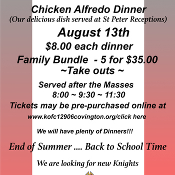 Chicken Alfredo Dinner Sunday August 13 2017