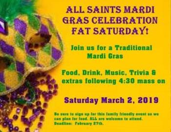 All Saints Mardi Gras Celebration!