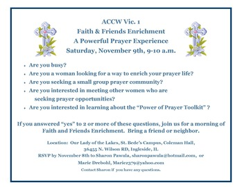 Faith & Friends Enrichment A Powerful Prayer Experience