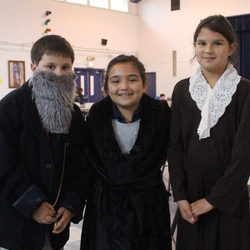 Third Graders at St. John the Evangelist teach fellow students about saints