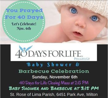 40 Days For Life Baby Shower & Barbecue Celebration