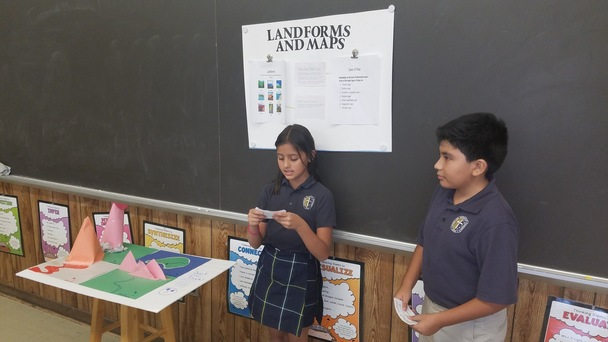 Students present their reports on land forms and maps.