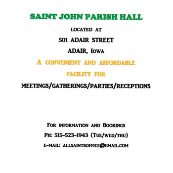 St. John Parish Hall Rental