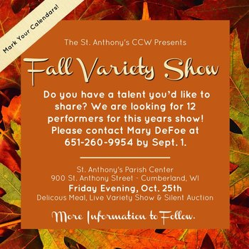 St Anthony CCW Fall Variety Show Oct 25