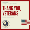 No School on Monday, November 12th in observance of Veterans Day