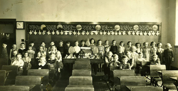 St. Lawrence School first and second graders in 1938